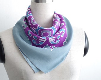 Neckerchief - Bohemian scarf hand painted in grey blue and purple. Small square scarflette tribal art. Small gifts for women. Cotton or silk