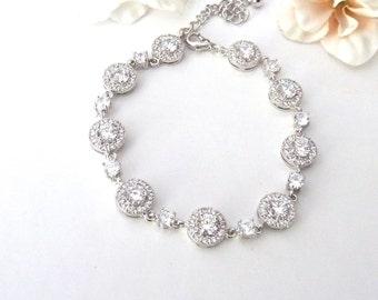 Bridal Bracelet - High Quality Clear White Halo Round Cubic Zirconias Bracelet