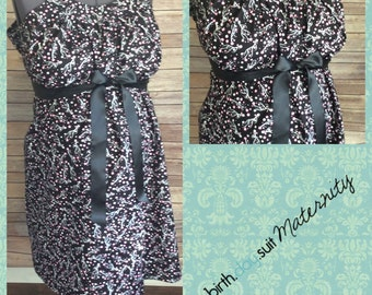 Maternity Hospital Gown- black with pink cherry blossom