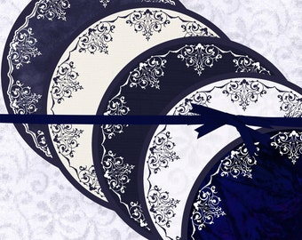 DIY Printable Paper Doilies, Navy Blue Printable Doilies, Navy printable doily centerpiece, navy printable placemat, doily charger, #15192