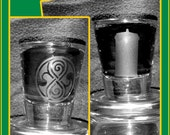 Doctor Who, one or two! TARDIS shot glass, Seal of Rasillon shotglass, mix and match