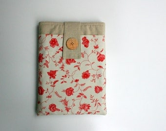 Tablet Case, Tablet Cover in Oatmeal Linen and Antique Red French Florals with Cord Pocket