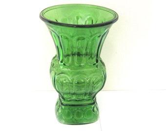 """Vintage Depression Green Glass Vase 8"""" Deco Style Flower Vase cottage boho VintahgeShabbyToChic"""