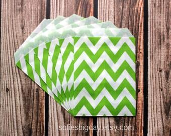 Lime Green Chevron Bags-Green chevron treat bags-Lime green favor bags- Lime green chevron goodie bags-Lime green chevron stripe bags-20
