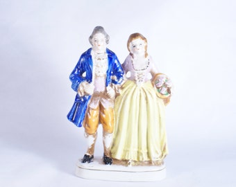Occupied Japan Victorian Couple Figurine Vintage Porcelain Figurines Colonial Pair Hand Woman Courting