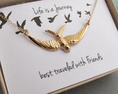 Best friends bird necklace, Life is a journey best traveled with friends gift, gold bird, bird in motion necklace, soaring all gold everyday