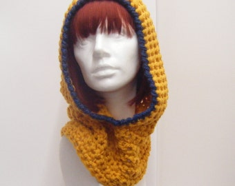 Mustard Crochet Hood Cowl with Dark Blue Trim