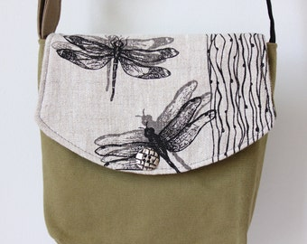 Mini Messenger Bag ~ Dragonfly Screen Print, adjustable strap, oatmeal natural Linen, olive khaki canvas~Ready to ship