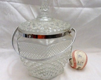 vintage biscut jar ice bucket crystal glass cookie jar vintage biscuit holder silver handle