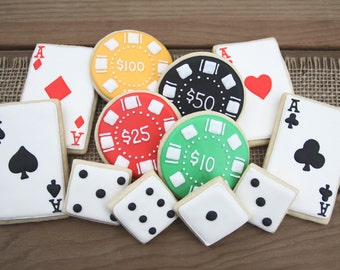 Vegas Party Decor // Casino Favors // Vegas Birthday // Vegas Wedding // Poker Favors // Dice Favors // Playing Cards // Vegas Sugar Cookies