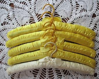 Vintage Padded Satin Hangers - Set of Five  -  (Yellow)