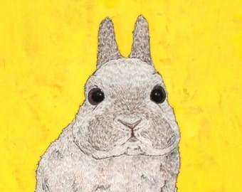 Unframed Reproduction Print of Rabbit. Yellow. Hello!