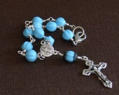 Blue Turquoise St. Benedict Car Rosary Auto Rosary Automobile Decade Rosary Rear View Mirror Rearview Mirror Traveler Rosary (BTRVMR-21815)
