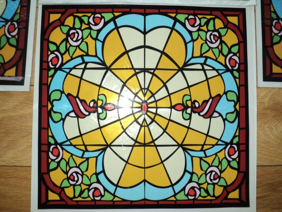 10 retro stained glass window decals rose stained glass. Black Bedroom Furniture Sets. Home Design Ideas