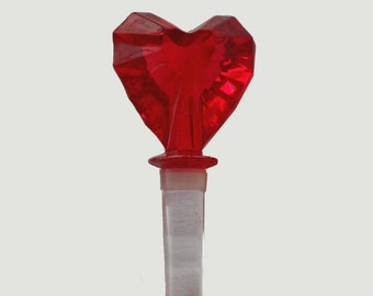 Bottle Stopper Glass Heart Wine Stopper Faceted Decantor Cap Top Stopper Vintage SALE