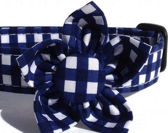 Girl Dog Collar Flower in Navy and White Gingham Check for Small to Large Dogs