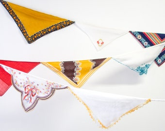 Birthday Party Decoration - Vintage Hankie Bunting - Hanging Garland - Vintage Theme - Orange and Mustard Colors - Ready to Ship