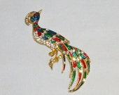 Enameled Peacock Bird Rhinestone Vintage Brooch Pin Gold tone