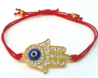 Hand Of Hamsa Bracelet, Red Cord Bracelet, Evil Eye Friendship Bracelet, UK Seller