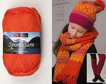 SALE 29% Off  Superwash Wool SPORTSGARN Double Knitting yarn Viking Garn #151 , Norway  / 50g/1.76oz
