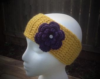 Crochet Headband, Ear Warmer with Flower Clip -- Yellow with Dark Purple Flower