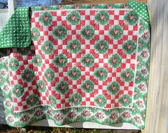 Handmade Twin Quilt Holiday Red and Green Rose Floral Checkerboard Modern Twin Bed Quilt Blanket