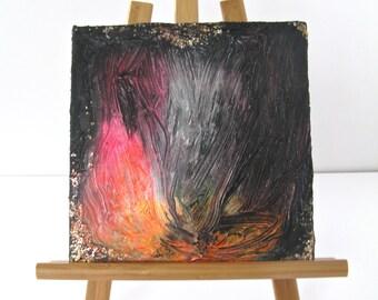"Small  8"" x 8"" Original Painting Pink, Orange, and Black"