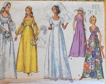 Simplicity 9260 wedding dress pattern, bust 31 1/2, maxi dress, lantern sleeves, Juliet cap, Renaissance wedding dress, 1970s pattern