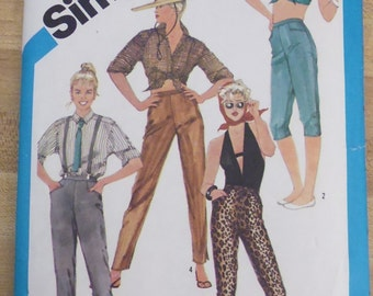 Simplicity 6461 skinny pants waist 25 pattern, slim fit capris, back zip pants, side button leg pants, side lace leg pants