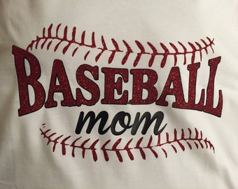 Glitter Baseball Mom short sleeve shirt