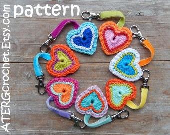 Crochet pattern heart + key ring by ATERGcrochet