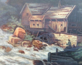 Antique oil painting on canvas mountain stream and water mill