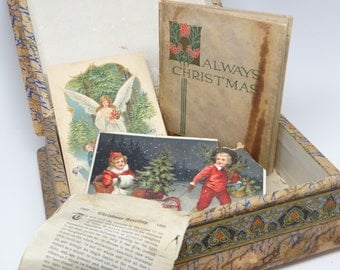 Victorian Christmas Poem Box, Antique Christmas Book and Post Cards