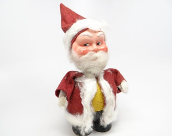 German 1940's Bobble Head Santa Candy Container, Hand Painted Paper Mache for Christmas