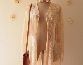 Light Cream Beige Lace See through Kimono Minimalist Lace Bikini Summer Kimono Lace Oversize Cardigan Bohemian Hippie Tribal Style