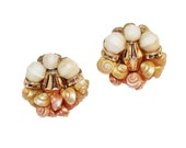 1950s Sea Shell Earrings by Hobe with Cream & Gold Cluster Beads