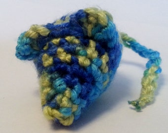 Crazy Boy Mouse Cat toy. crinkly or rattle, cat nip- Blue and Green Variegated color