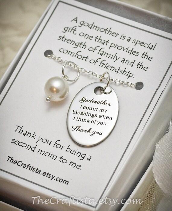 Godmother Wedding Gift: Godmother Necklace GM Baptism Pearl Necklace Godmother