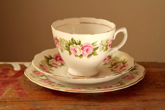 Delicate pink and white rose teacup saucer and cake plate set - vintage bone china tea cup - british tea set - gifts for her women mom uk