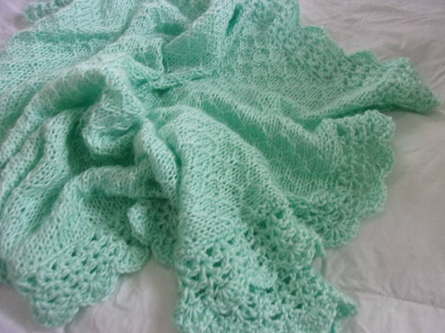 Hand Knit Baby Blanket in Honeycomb Pattern with Crocheted