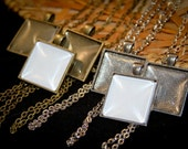 2 DIY Wedding Bridal Bouquet Charm Kits - Square with glass - for Family photos and Initials (Includes everything you need)