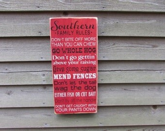 wood sign Family rules, house rules, funny family rules , Southern Family Rules, hand paint, primitive sign, wall decor, hand painted sign,
