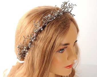 Silver Sparkle Twig Crown, Goddess Crown, Branch Hair Accessory, Wedding Hair Piece, Fairytale Crown, Rustic Forest Wedding, Game of Thrones