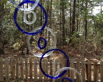 GLASS WINDCHIMES from RECYCLED bottles,  blue clear mix, garden decor, wind chimes, mobiles, musical, windchimes