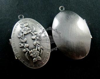 wholesale 5pcs 26x41mm vintage brass antique silver locket pendant,photolocket,locket,photo locket,oval locket1123002