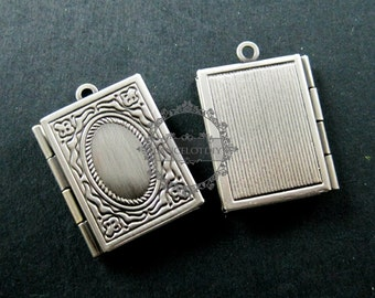 19x26mm vintage style antiqued silver brass book shape sqaure photo locket pendant charm DIY supplies 1193002