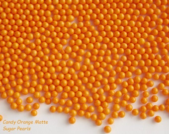 Sugar Pearls Orange Matte Finish Jimmies Sprinkles Cupcake Cookies Cakes  2 oz Jar Candy beads