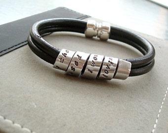 Leather Secret Message Bracelet - Sterling Silver Personalized - Unisex - Magnetic Clasp - Mens - Womens