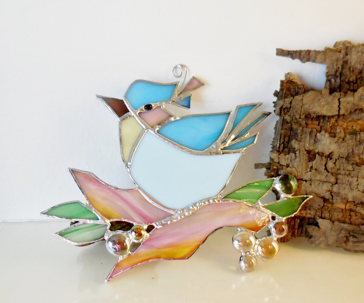 Stained Glass Blue Bird The Happy Bird Home Decor