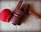 SALE  Antique Primitive Wooden - Treen Sewing Clamp / Pincushion